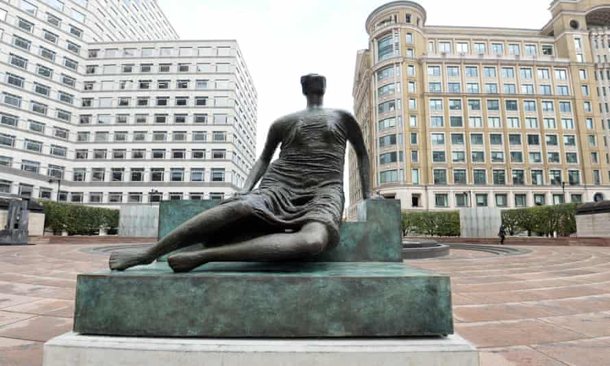 Henry Moore's Draped Seated Woman, known as Old Flo, at Cabot Square in Canary Wharf