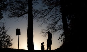 Silhouette Woman With Dog On Field