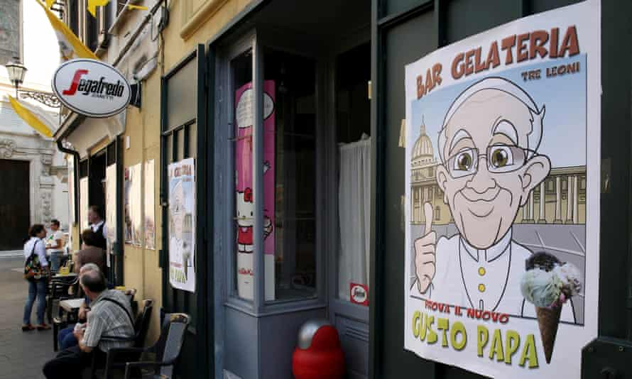 An restaurant sells ice-cream dedicated to Pope Francis, a mascarpone and strawberry creation, in Cassano allo Ionio, southern Italy.