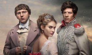 Paul Dano, Lily James and James Norton all in period costume with Norton in military uniform in BBC TV's War and Peace.