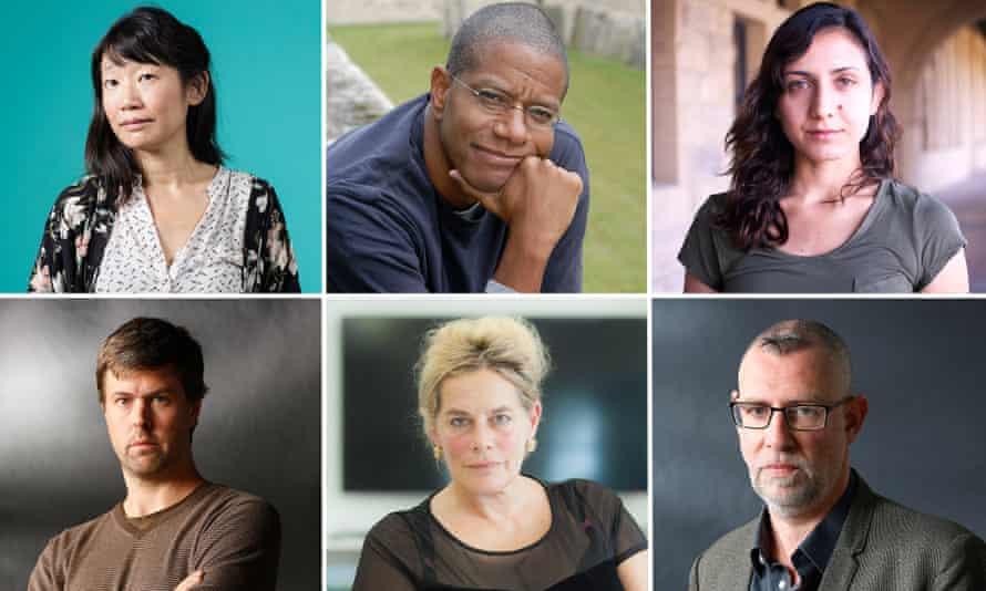 Clockwise from top left: Madeleine Thien, Paul Beatty, Otessa Moshfegh, Graeme Macrae Burnet, Deborah Levy, David Szalay,