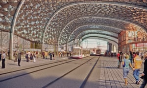 Architect's impression of the tramway at the new Birmingham Curzon HS2 station