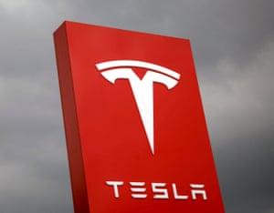 FILE PHOTO: The logo of Tesla is seen in Taipei, Taiwan.