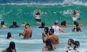 Beach goers at Bondi