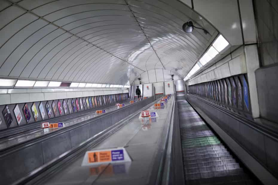 The longest escalator in the tube network at Angel station would normally carry hundreds