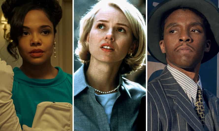Tessa Thompson in Sylvie's Love, Naomi Watts in Mulholland Drive and Chadwick Boseman in Ma Rainey's Black Bottom