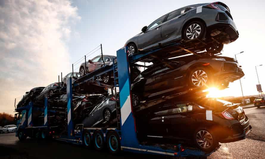 Cars leaving the Honda plant in Swindon.