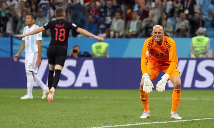 Willy Caballero reacts after his mistake allowed Ante Rebic to open the scoring for Croatia.