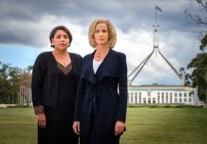 Deborah Mailman as Alex and Rachel Griffiths as prime minister Rachel Anderson in Total Control