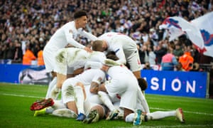 Players celebrate after scoring during Nations League match against Croatia at Wembley, won 2-1