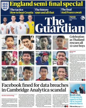 Guardian front page, Wednesday 11 July 2018