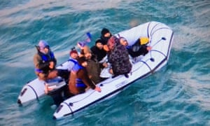 People rescued in the Channel by the French Navy