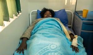 Cecilia Chimbiri in hospital bed