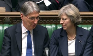 """A video grab from footage broadcast by the UK Parliament's Parliamentary Recording Unit (PRU) shows British Chancellor of the Exchequer Philip Hammond (L) and British Prime Minister Theresa May react as they listen to British opposition Labour Party Shadow Chancellor of the Exchequer, John McDonnell as he speaks in the House of Commons in London on November 23, 2016. Britain on Wednesday prepared for its first budget since the Brexit referendum five months ago, with government hopes of trimming austerity crimped by lower growth expectations as divorce from the EU looms. / AFP PHOTO / PRU AND AFP PHOTO / HO / RESTRICTED TO EDITORIAL USE - MANDATORY CREDIT """" AFP PHOTO / PRU """" - NO MARKETING NO ADVERTISING CAMPAIGNS - NO RESALE - NO DISTRIBUTION TO THIRD PARTIES - 24 HOURS USE - NO ARCHIVES HO/AFP/Getty Images"""