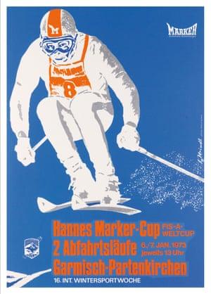 Hannes Marker – Cup. 1973. Signature unknown. 84.5 x 59.75cm. Güttinger Siebdruck, Garmisch. Condition A. Silkscreen. Estimate $600 to $900
