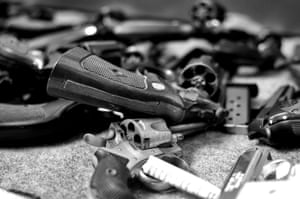 Guns surrendered at a 'guns for laptops' event in Baltimore in July 2013