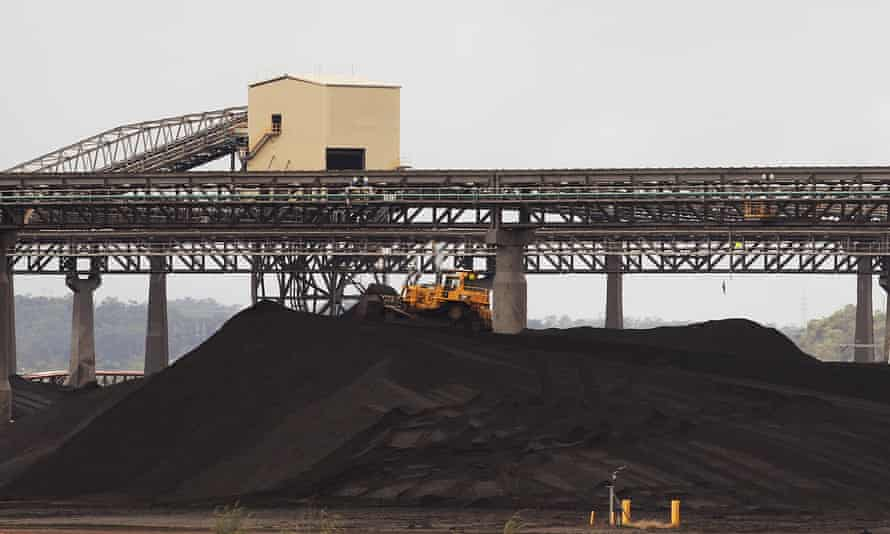 A tractor makes its way over a pile of coal at a coal port in Gladstone, Queensland
