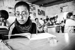 Said is attending classes at the Carlo Giuliani school in Dakhla camp