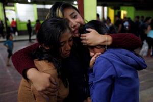 Residents seek safety inside a shelter