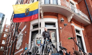 Julian Assange speaks to the media from the balcony of Ecuadorian embassy in London in May 2017.