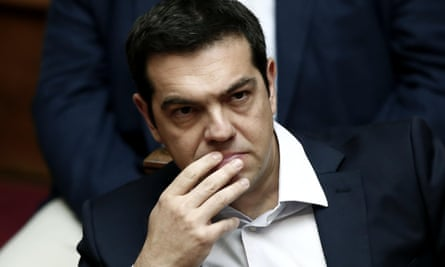 Alexis Tsipras during the extraordinary session of the Greek parliament to decide on the referendum question in Athens on Saturday.