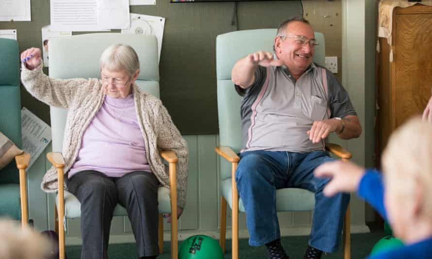 Residents exercise at Pearsons Retreat sheltered housing scheme in West Sussex: