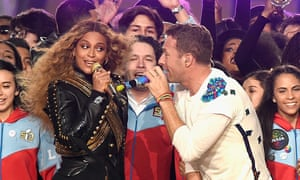 Beyoncé and Coldplay's Chris Martin at the 2016 Super Bowl show.