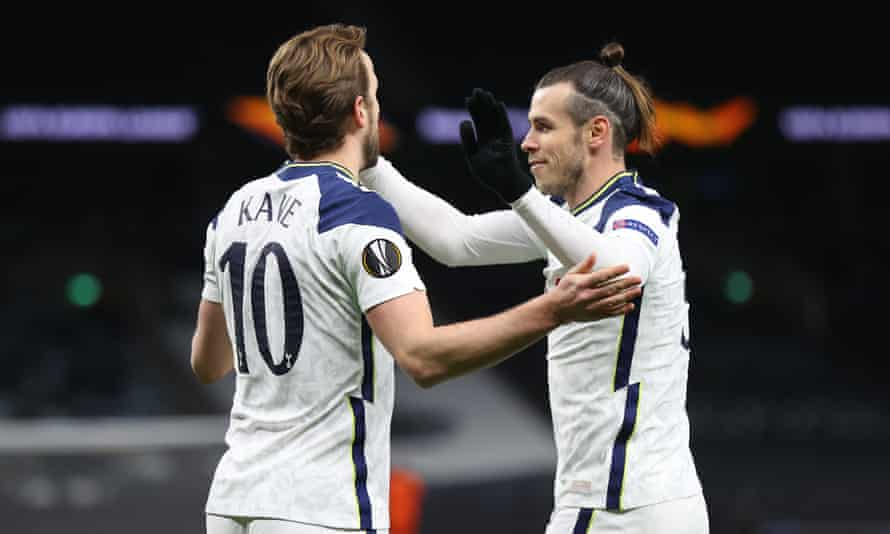 Harry Kane celebrates with Gareth Bale after scoring Tottenham's second goal in their Europa League last-16 first leg victory over Dinamo Zagreb on Thursday