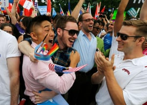 Euphoric scenes accompany the decision that same-sex marriage is legal across the US