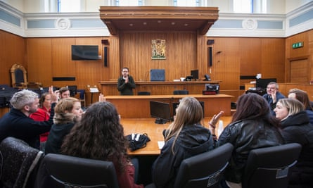 Justice Syndicate jury members debrief in Dundee Sheriff court after reaching their verdict.