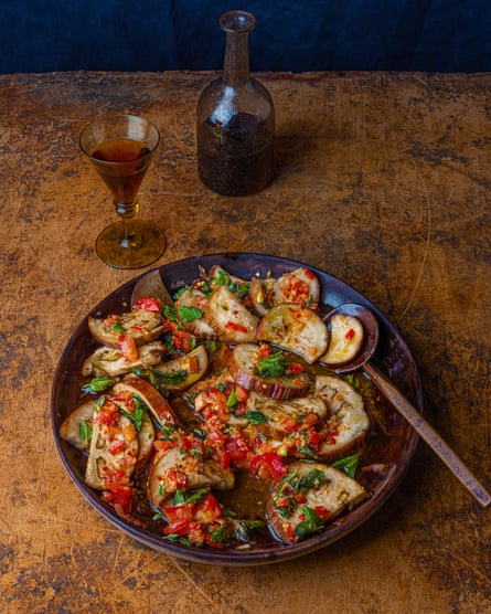 Doing the rounds: marinated steamed aubergines.