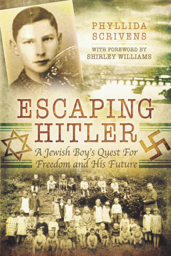 Escaping Hitler by Phyllida Scrivens, which tells the story of Joe Stirling's life. The group photo shows 7-year-old Joe, then named Günter, seated on the far left of the front row, on the first day of school