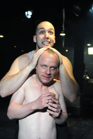 Thyestes, 2009 Jamie Ballard (Thyestes) and Youssef Kerkour (Fury) in Thyestes at Arcola theatre