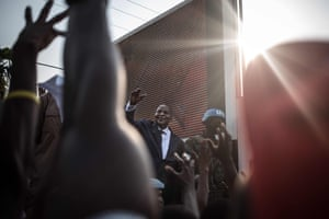 Incumbent president Faustin-Archange Touadéra greets his supporters in front of the headquarters of his party, the Movement United Hearts, after the announcement of the validation of the results of the December 2020 presidential election.