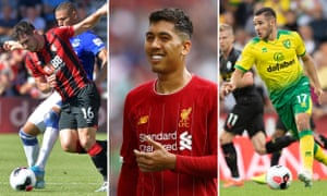 Lewis Cook of Bournemouth; Roberto Firmino of Liverpool; Emi Buendia of Norwich City
