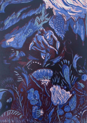 Je Suis a Lui (I Am His), 1994, by Anne-Catherine Fox from her Song of Songs series of linocuts