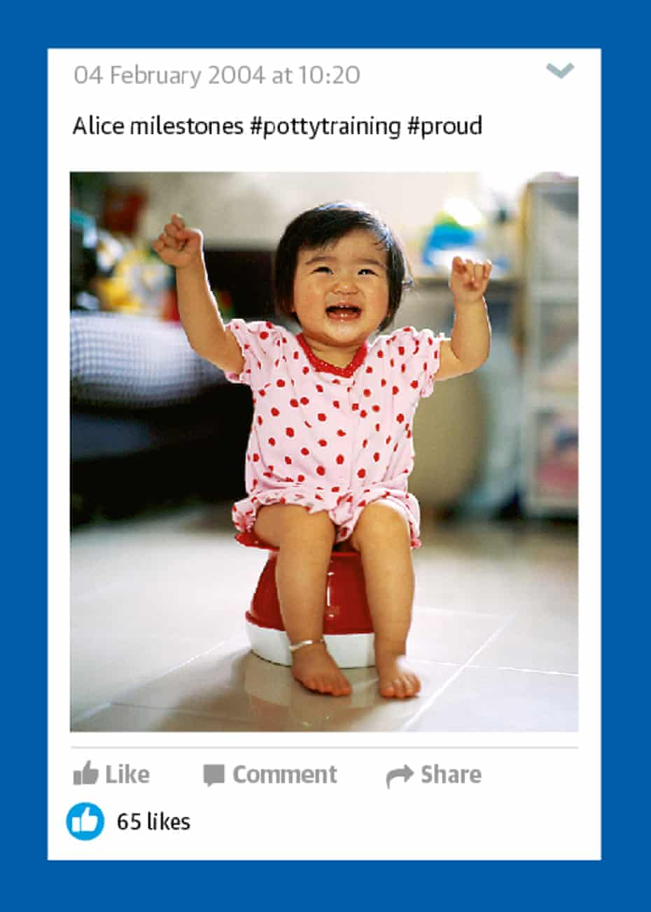 Cute baby girl sitting and laughing on potty with arms up