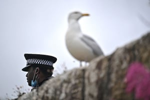 A police officer on duty in Cornwall at the G7 summit.