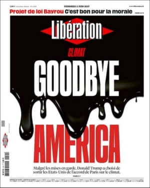 Front page of Liberation, France, following Trump's climate decision