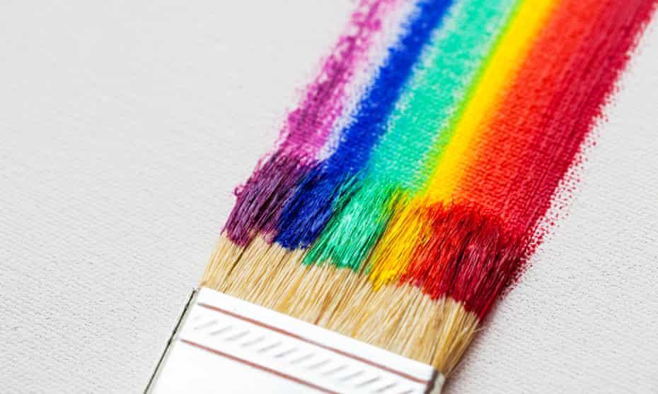 Paintbrush with rainbow colours