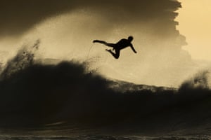 Sydney, Australia: A surfer falls from his board at Bronte Beach.