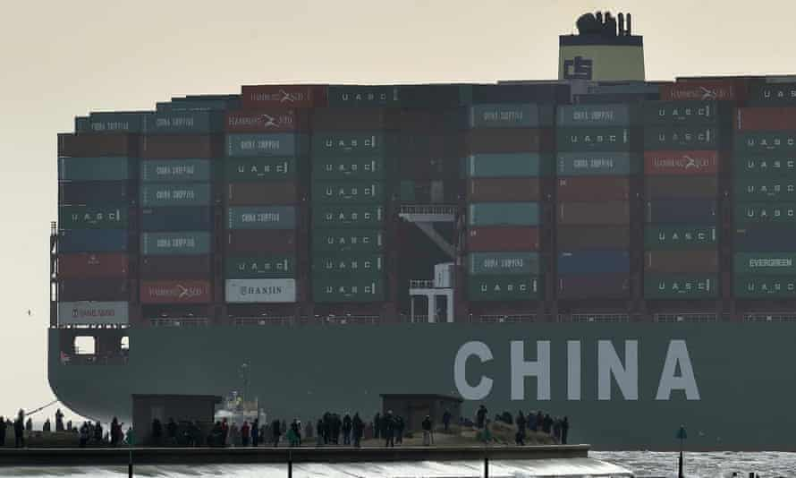 World trade in action: the world's largest container ship, the CSCL Globe, docks in Felixstowe on its maiden voyage.