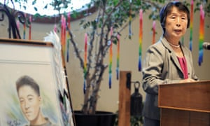 Mieko Hattori speaks during a meeting on gun control at a church in Baton Rouge, Louisiana, on 20 October 2012. Her son Yoshi Hattori, a Japanese high school exchange student, was shot dead in Baton Rouge in 1992.