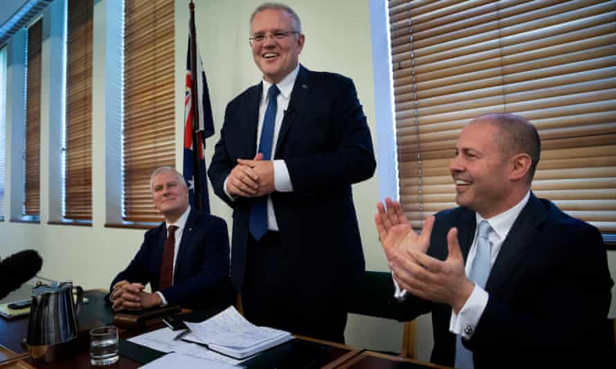 Scott Morrison at the first Coalition party room meeting since the election