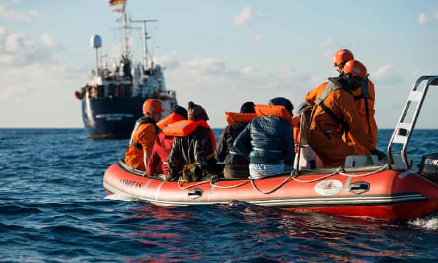 The German NGO Sea Eye rescue people off the coast of Libya on 29 December.