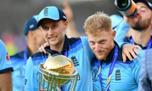 Joe Root and Ben Stokes celebrate winning the World Cup final.