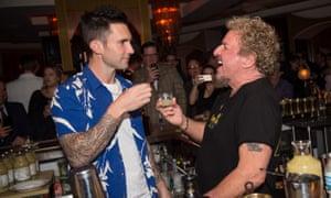 Adam Levine and Sammy Hagar launch Santo Mezquila in West Hollywood, California.