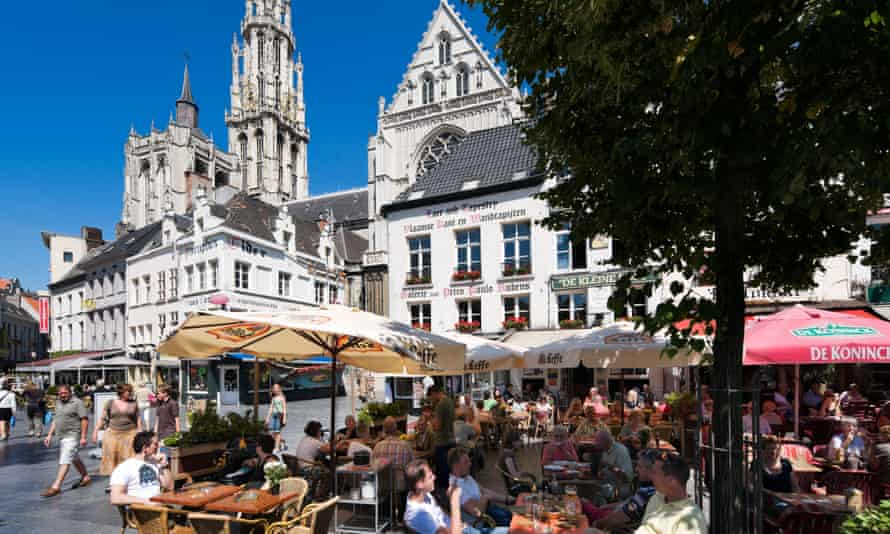 Cafes in a square in Antwerp