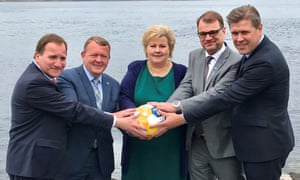 Left to right: Sweden's PM Stefan Lofven with his counterparts Lars Lokke Rasmussen of Denmark, Erna Solberg of Norway, Juha Sipila of Finland and Bjarni Benediktsson of Iceland at their meeting in Bergen.