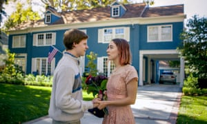 Lucas Hedges and Saoirse Ronan in front of the Blue House, where Lady Bird doesn't live.